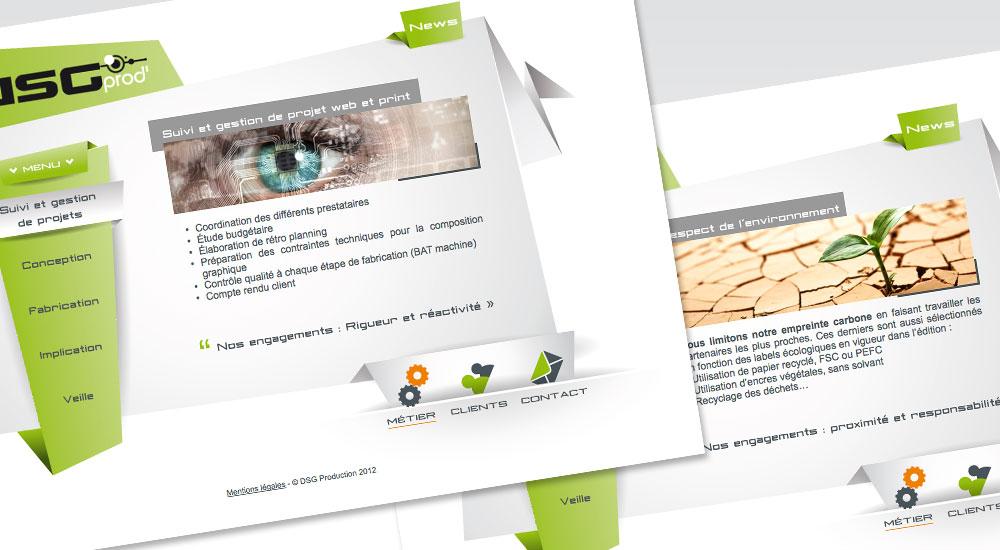 Webdsign site DSG Prod, graphiste lyon